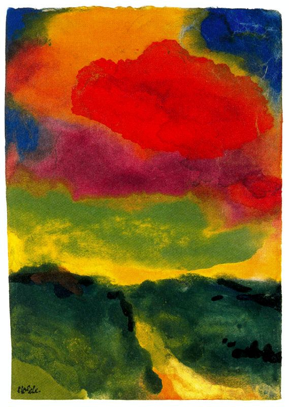 Emil Nolde Green Landscape with Red Colud